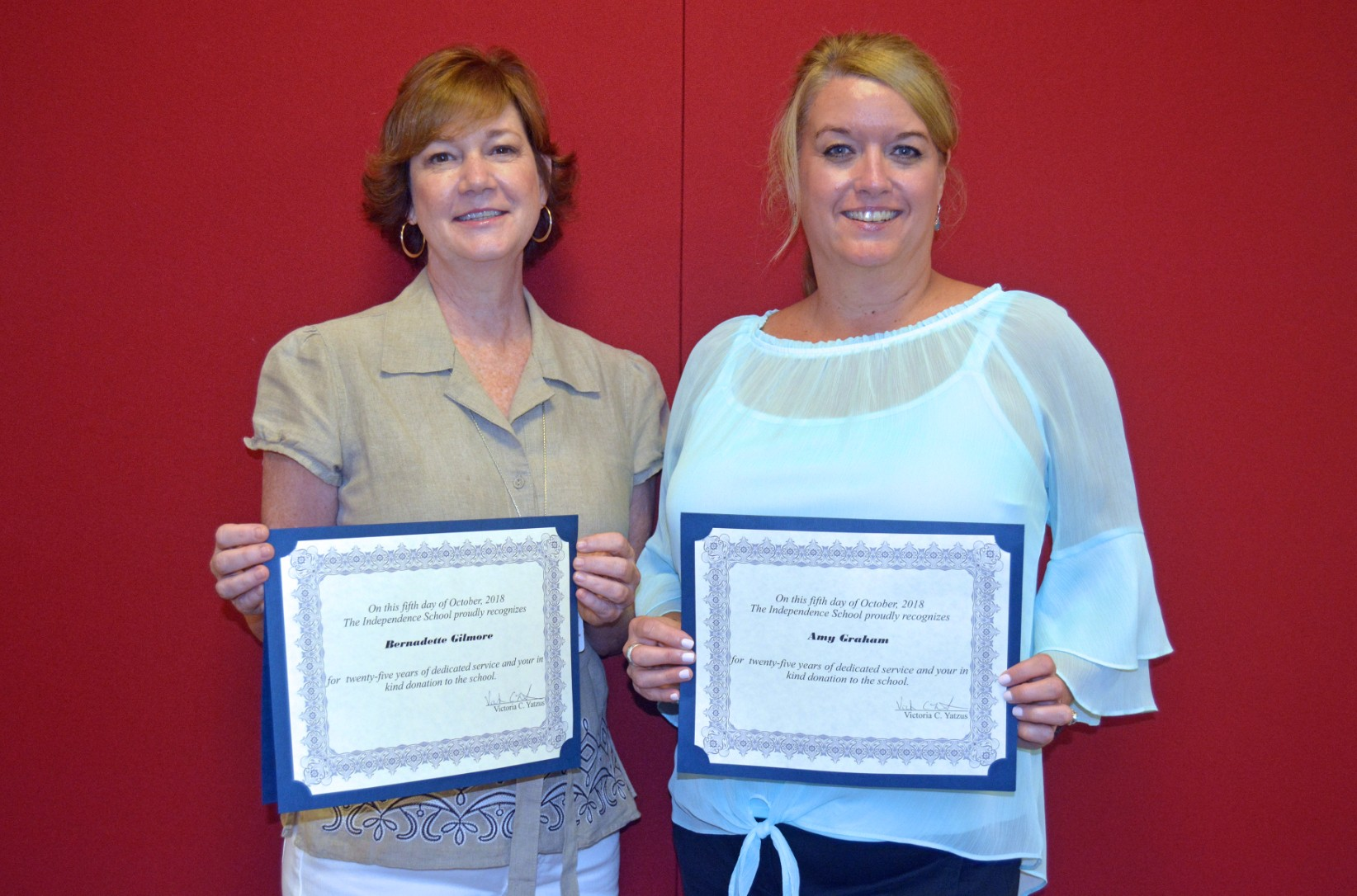Independence honors service milestones; Bernadette Gilmore, Amy Graham reach 25 years