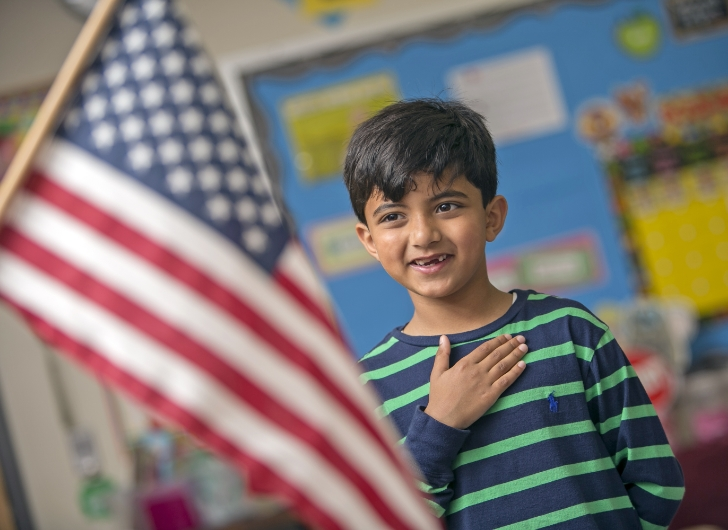 student and american flag